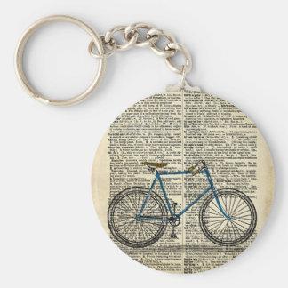 DICTIONARY Art Print Blue Bicycle Bike Vintage Keychain