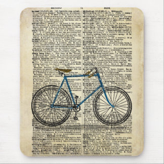 DICTIONARY Art Print Blue Bicycle Bike Vintage Mouse Pad