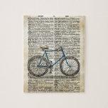 DICTIONARY Art Print Blue Bicycle Bike Vintage Puzzle