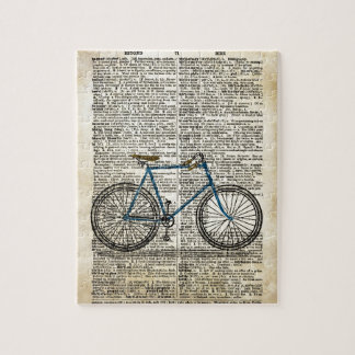 DICTIONARY Art Print Blue Bicycle Bike Vintage Puzzles