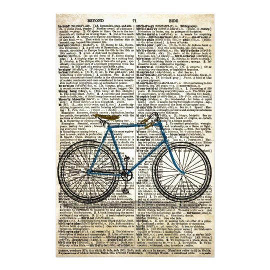 DICTIONARY Art Print Blue Bicycle Bike Vintage Stationery