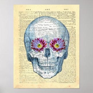 Dictionary Art Print Collage Art Sugar Skull no.2