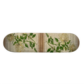 dictionary french country botanical white rose skateboard