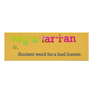 dictionary meaning vegetarian funny poster design