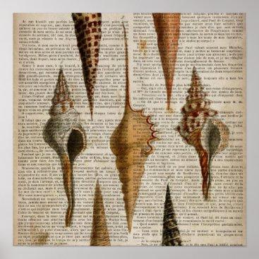 CHICELEGANT dictionary print french botanical beach seashells