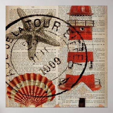 CHICELEGANT dictionary prints art coastal seashell lighthouse
