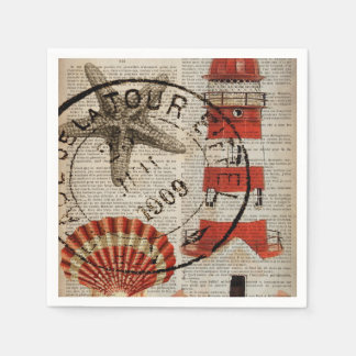 dictionary prints art coastal seashell lighthouse napkin