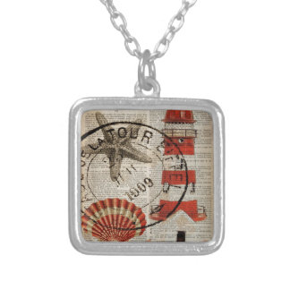 dictionary prints art coastal seashell lighthouse silver plated necklace