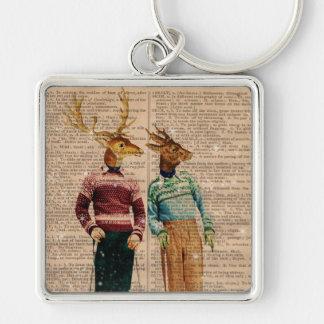 Dictionary Vintage Reindeer Snow Ski Key Chain