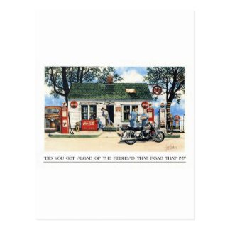 Did you get aload of the lady that rode that in ? postcard