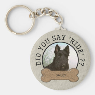 Did You Say Ride? Funny Dog Custom Photo and Name Basic Round Button Keychain