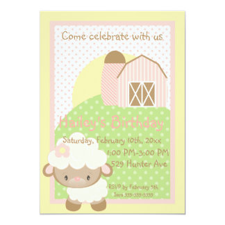 "Diddles Farm Lamb Birthday Invitation 5"" X 7"" Invitation Card"
