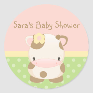 Diddles Farm Moo-Cow Baby Shower-Envelope Seal Classic Round Sticker