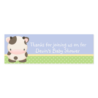 Diddles Farm moo-Cow Baby Shower Favor Tag B Double-Sided Mini Business Cards (Pack Of 20)