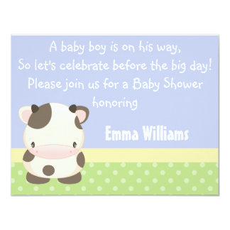 "Diddles Farm Moo-Cow Baby Shower Invitation 4.25"" X 5.5"" Invitation Card"