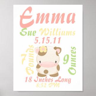Diddles Farm moo-Cow Birth Announcement Print