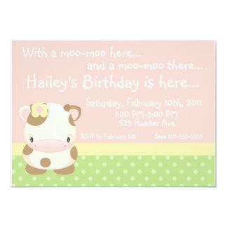 "Diddles Farm Moo-Cow Birthday Invitation 5"" X 7"" Invitation Card"