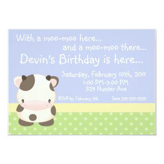 "Diddles Farm Moo-Cow Birthday Invitation B 5"" X 7"" Invitation Card"