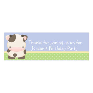 Diddles Farm moo-Cow Birthday Party Favor Tag Double-Sided Mini Business Cards (Pack Of 20)