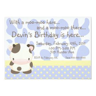 "Diddles Farm Moo-Cow Blue Birthday Invitation 5"" X 7"" Invitation Card"