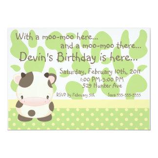"Diddles Farm Moo-Cow Green Birthday Invitation 5"" X 7"" Invitation Card"