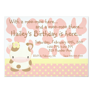 "Diddles Farm Moo-Cow Pink Birthday Invitation 5"" X 7"" Invitation Card"