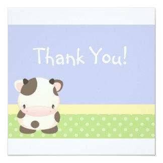 "Diddles Farm Moo-Cow Thank you Card B 5.25"" Square Invitation Card"