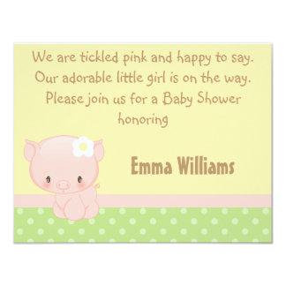 "Diddles Farm Pig Baby Shower Invitation 4.25"" X 5.5"" Invitation Card"