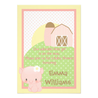 Diddles Farm Pig Baby Shower Invitation-Pink-Blue
