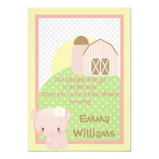 Diddles Farm Pig  Baby Shower Invitation-Pink-Blue Card