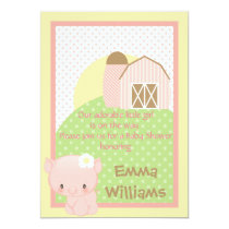 Diddles Farm Pig  Baby Shower Invitation-Pink-Blue Invitation