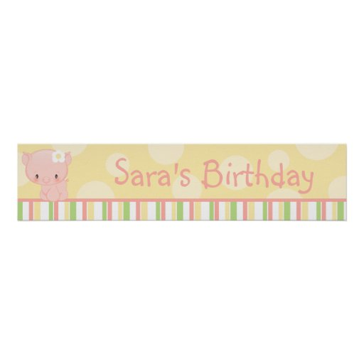 Diddles Farm Pig Birthday Banner Poster