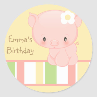 Diddles Farm Pig Birthday-Envelope Seal Classic Round Sticker