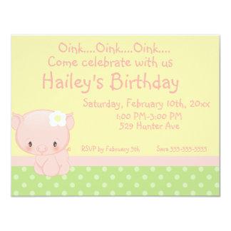 "Diddles Farm Pig Birthday Invitation 4.25"" X 5.5"" Invitation Card"