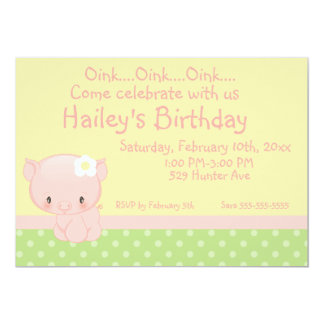 "Diddles Farm Pig Birthday Invitation 5"" X 7"" Invitation Card"