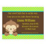 "Diddles Monkey Boy Baby Shower Invitation 4.25"" X 5.5"" Invitation Card"
