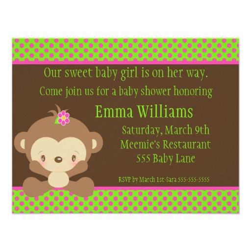 diddles monkey girl baby shower invitation x 5 5 invitation