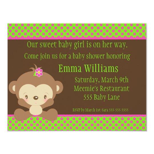 Diddles Monkey Girl Baby Shower Invitation