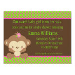 "Diddles Monkey Girl Baby Shower Invitation 4.25"" X 5.5"" Invitation Card"