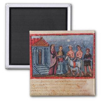 Dido making a sacrifice, from Vergilius Vaticanus 2 Inch Square Magnet