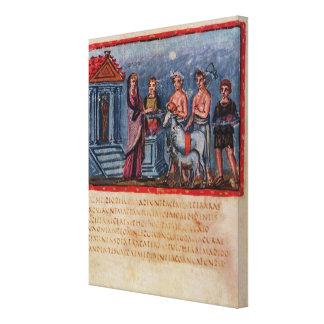 Dido making a sacrifice, from Vergilius Vaticanus Canvas Print