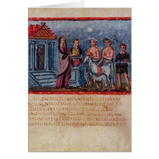 Dido making a sacrifice, from Vergilius Vaticanus Card