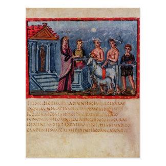 Dido making a sacrifice, from Vergilius Vaticanus Postcard