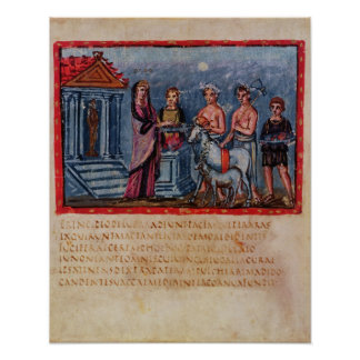 Dido making a sacrifice, from Vergilius Vaticanus Poster