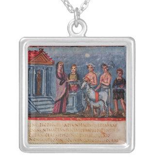 Dido making a sacrifice, from Vergilius Vaticanus Square Pendant Necklace