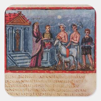 Dido making a sacrifice, from Vergilius Vaticanus Square Sticker
