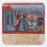 Dido que hace un sacrificio, de Vergilius Vaticanu Pegatina Cuadradas Personalizada