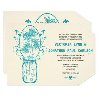 Die Cut Aqua Blue Mason Jar Wildflower Wedding Card