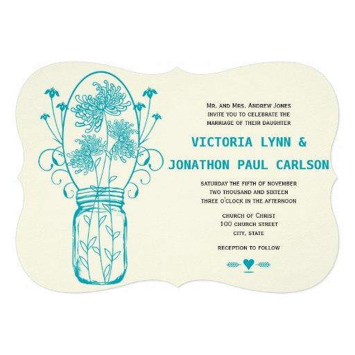 Die Cut Aqua Blue Mason Jar Wildflower Wedding Personalized Announcement