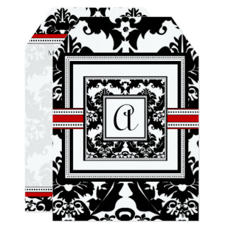 Die Cut Black Damask Red Trim Wedding Invitation
